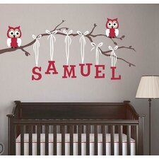 Pink Girl Owl Branch Wall Decal