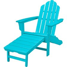 All-Weather Contoured Adirondack Chair with Hideaway Ottoman by Hanover