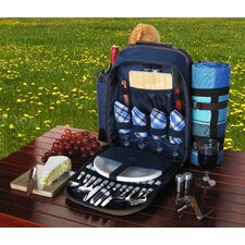 4 Person Picnic Backpack with Insulated Cooler and Plaid Blanket
