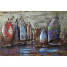 """""""The Regatta 2"""" Mixed Media Iron Hand Painted Dimensional Wall Décor"""