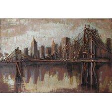 """Bridgescape"" Mixed Media Iron Hand Painted Dimensional Wall Décor"