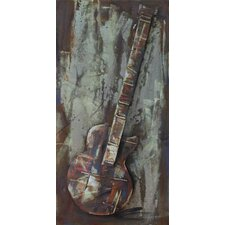 """""""Electric Guitar"""" Mixed Media Iron Hand Painted Dimensional Wall Décor"""