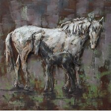 """""""Mare and Foal"""" Mixed Media Iron Hand Painted Dimensional Wall Décor"""