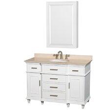 Berkeley 48 Single White Bathroom Vanity Set with Medicine Cabinet by Wyndham Collection