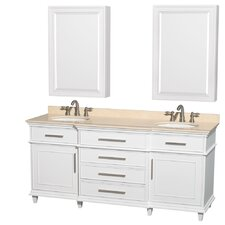 Berkeley 72 Double White Bathroom Vanity Set with Medicine Cabinet by Wyndham Collection