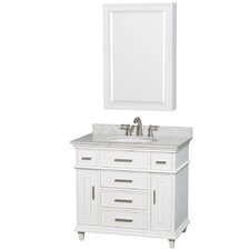 Berkeley 34 Single White Bathroom Vanity Set with Medicine Cabinet by Wyndham Collection