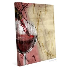 Artistic Pouring Red Wine Left Painting Print on Wrapped Canvas