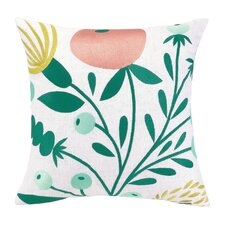 Whimsy Blooms Embroidered Linen Throw Pillow
