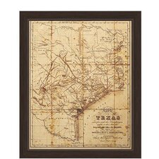'Map of Texas' Canvas Framed Graphic Art