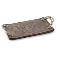 Weathered Wood Handled Rectangular Serving Tray