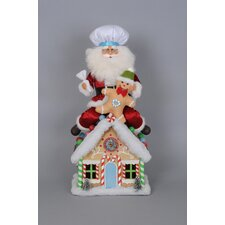Christmas Limited Edition Lighted Gingerbread House Santa Figurine