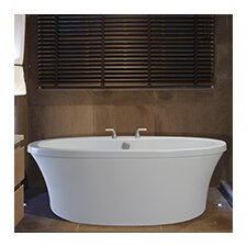 Center Drain Freestanding 66 x 36.75 Soaking Tub with Virtual Spout and Deck for Faucet by Reliance Whirlpools