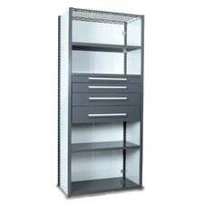 V-Grip 84 Shelving with Drawers Unit - 4Drw/5Shelf Closed Starter,  4 drawers - 3,4.5, 6, 7.5 H; 400 lb capacity by Equipto