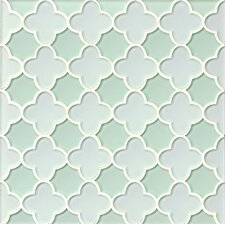 Mallorca Glass Flora Mosaic Tile in White Linen and Green