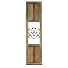 Vertical Wood Panel with Metal Center Wall Décor