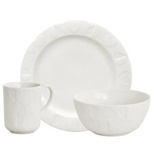 Embossed 3 Piece White Dinning Place Setting