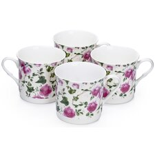 0.3L Fine China Tea Cup in Rose (Set of 4)