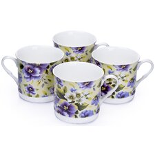 0.3L Fine China Tea Cup in Violet Floral (Set of 4)