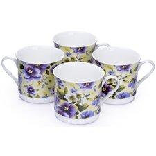 0.3L Fine China Tea Cup in Violet Floral (Set of 4)