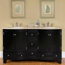 60 Double Sink Cabinet Bathroom Vanity Set by Silkroad Exclusive