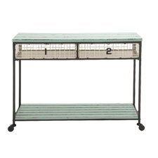 Extraordinarily Designed Metal Wood Storage Console by Woodland Imports