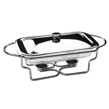 Rectangle Stainless Steel Food Warmer with Marinex Glass Dish