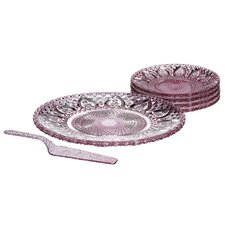 6 Piece Glass Cake Plate Set in Pink