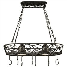 Peony Lighted Hanging Pot Rack