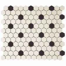 "Syndra Hexagon 0.875"" x 0.875"" Porcelain Unglazed Mosaic Tile in Antique White/Black"