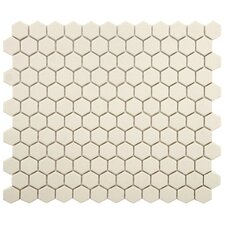"New York Hexagon 0.875"" x 0.875"" Porcelain Unglazed Mosaic Tile in Textured Cream"