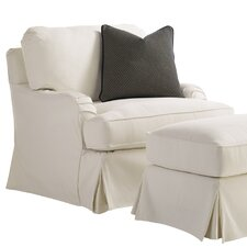 Coventry Hills Stowe Slipcover Swivel Armchair and Ottoman by Lexington