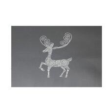 Deer Crossing Decorative Holiday Print Gray Indoor/Outdoor Area Rug
