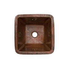 """Fleur De Lis 15"""" x 15"""" Square Copper Bar Sink"""