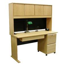 Modular Real Oak Wood Veneer Furniture Computer Desk with Hutch