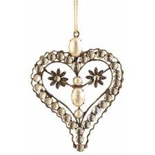 Trousseau Vintage Pearl Heart Ornament (Set of 3)