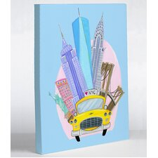 Love from NYC 11 Taxi NYC Landmarks by April Heather Graphic Art on Wrapped Canvas  by One Bella Casa