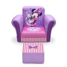 Minnie Mouse Upholstered Kids Club Chair and Ottoman by Delta Children