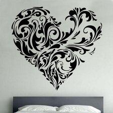 Floral Love Heart Decal Vinyl Wall Sticker