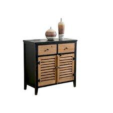 2 Tone 2 Door/2 Drawer Cabinet in Black/Rustic Pine