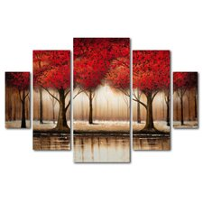 Parade of Red Trees by Rio Framed 5 Piece Set on Canvas