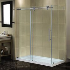 Langham 60 x 35 x 77.5 Completely Frameless Sliding Shower Enclosure with Base by Aston