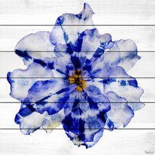 'Blue and White Flower' by Parvez Taj Graphic Art Print on Wood