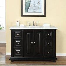 48 Single Sink Bathroom White Marble Vanity Set by Silkroad Exclusive