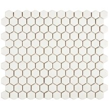 "Retro 0.875"" x 0.875"" Hex Porcelain Mosaic Tile in Matte White"