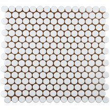"Bader 0.8"" x 0.8"" Porcelain Mosaic Tile in Glazed White"