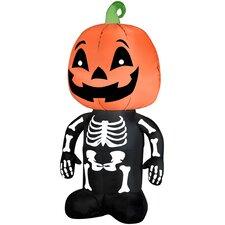 Pumpkin Boy Skeleton Airblown Inflatable Halloween Decoration