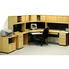 Office Modulars Corner Executive Desk with Machine Cart