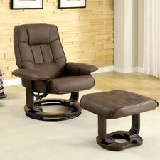 Leatherette Swivel Recliner Chair and Ottoman Set