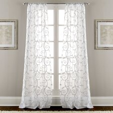 Lindsey Embroidered Nature/Floral Semi-Sheer Rod Pocket Curtain Panels (Set of 2)