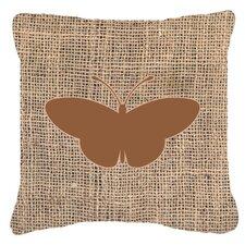 Modern Butterfly Burlap Fade Resistant Indoor/Outdoor Throw Pillow
